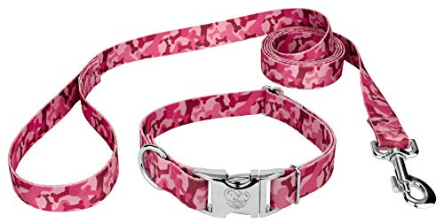 Premium Patterned Dog Collars - Country Brook Design Pink Bone Camo Premium Patterned Dog Collar & Matching Leash Set-L