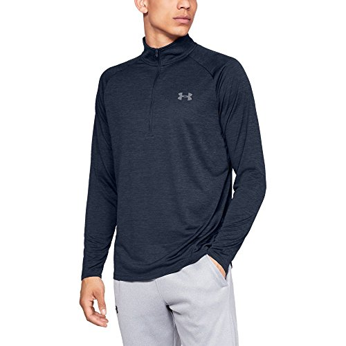 (Under Armour mens Tech 2.0 1/2 Zip-Up, Academy (409)/Steel, Large)