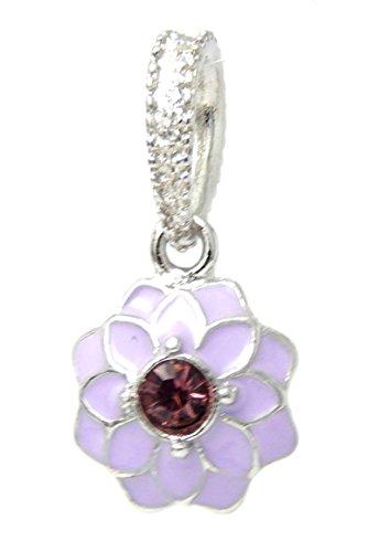 J&M Dangle Dangle Violet Lotus Flower with Crystal Charm Bead for Charms - Violet Pandora