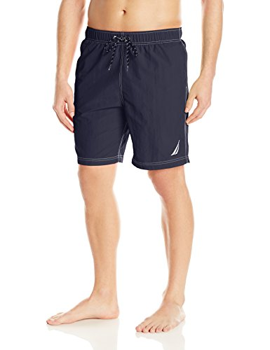 Nautica Men's Standard Solid Quick Dry Classic Logo Swim Trunk, Navy, (Nautica Trunk)