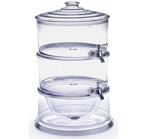 FixtureDisplays 2PK Dispenser, Acrylic Beverage Dual w/Ice Comp. Countertop, Hospitality, Hotel 13034-2PK