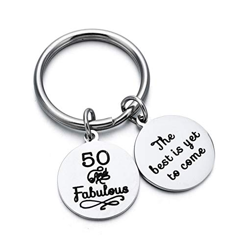 Stainless Steel Key Dangle Ring - ODLADM Happy Birthday Gift 30th 40th 50th 60th Charms Key Ring for Key Holder Stainless Steel Key Chain 3cm (50th)
