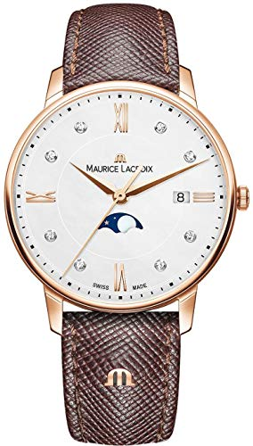 Maurice Lacroix Women's Eliros Moonphase 35mm Watch | Gold/Brown Leather