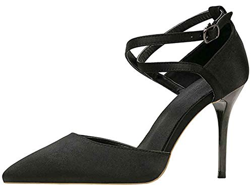 Easemax Women's Sexy Ankle Strap Stiletto High Heel D'Orsay Pointed Toe Dress Pumps Shoes Black 5 M US ()