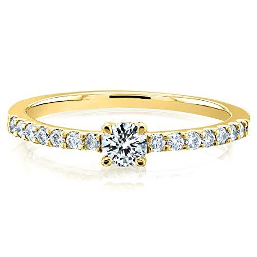 1/3 Ct Tw Ring - 1/3 Carat ct.tw Petite Low Setting Diamond Ring in 14k Yellow Gold, 6.5