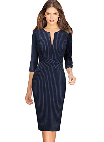 VFSHOW Womens Elegant Blue and White Striped Slim Zipper up Work Business Office Party Sheath Dress 2658 BLU 3XL ()