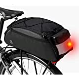 自転車リアバッグ リアバッグ サドルバッグ ショルダーストラップ付属 携行バッグ ブラック テールライト内蔵 10L大容量
