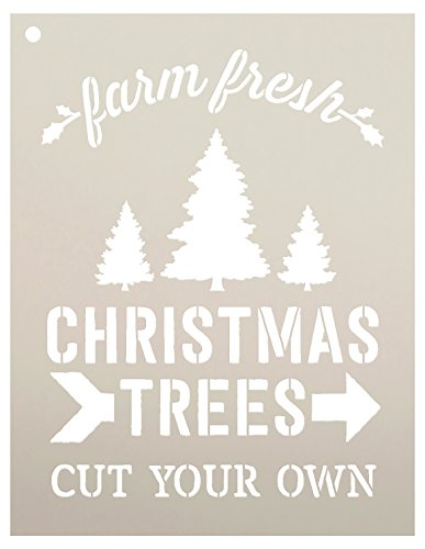 Farm Fresh Christmas Trees by StudioR12 | Winter Farm Word Stencil - Reusable Mylar Template | Painting, Chalk, Mixed Media | Use for Wall Art, DIY Home Decor - CHOOSE SIZE (9'' x 11'') by Studio R 12
