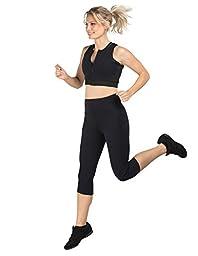 Delfin Spa Women\'s Heat Maximizing Neoprene Exercise and Anti-Cellulite Capris, BLACK, Medium