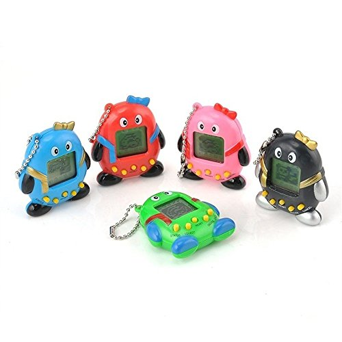 2 Pcs Battery Electronic Game  Gift Toy 168 Virtual Pets In One Penguin Electronic Digital Pet Machine Game Random Color
