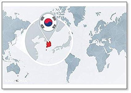 Amazon.com: World Map Centered On South Korea classic fridge ...