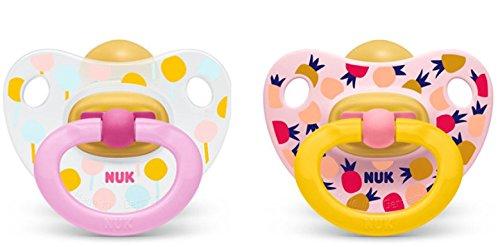 rosa//gelb Gr 2 NUK Schnuller Latex Happy Kids Plus 6-18 Monate