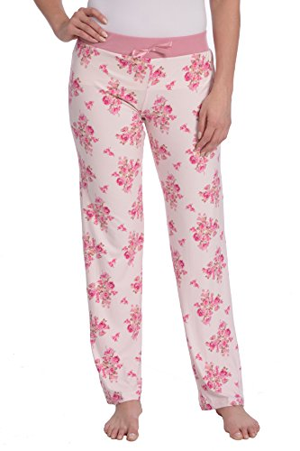 Pants Pajama Striped Flannel (Wanted Women's Lightweight Ultra Soft Stretch Printed Pajama Pant (Pink Floral, S))