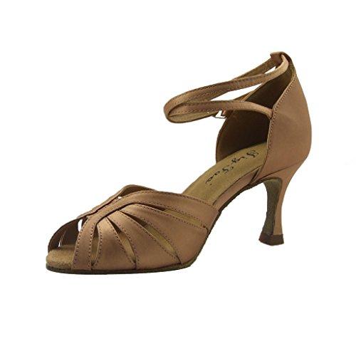 Plantilla Flipmycover sandalias Salsa Tango latinoamericano examen de baile zapatos de baile para las mujeres con 6,99 cm del talón canela