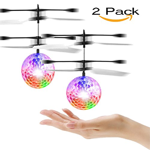 Infrared Induction Helicopter Ball with Shinning LED Lights Up Toys Flying Disco Ball Teenagers Colorful Flying Toy for Boys and Girls (2 Pack) (Flying ball) (flying ball)
