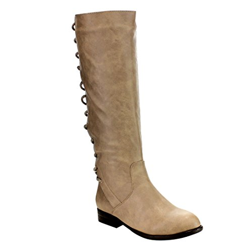 BAMBOO EF06 Womens Under Knee High Corset Lace Up Side Zipper Riding Boots Taupe