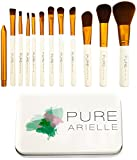 Insane Deal! Ends Today! Pure Arielle Synthetic Makeup Brush Set Includes Metal Travel Organizer Box Case - Best Cheap Make Up Brushes Kit