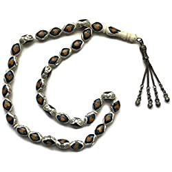 33 LARGE BEADS ISLAMIC PRAYER ROSARY MESBAHA, CAMEL BONE INLAID WITH SILVER DOTS & BROWN HEARTS