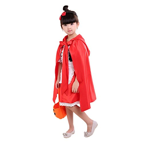 (Baby Girls Halloween Costume Witspace Toddler Kids Halloween Party Dresses+Cloak Disguise Costume (Red, 8-9 Years)