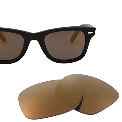LenzFlip Replacement Lenses for RayBan Wayfarer RB2140 50mm - Gray Polarized with Flash Gold - Wayfarer Rb2140 Replacement Lenses