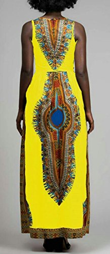 Jsyau Imprimé Ethnique Sans Manche Afrique Élégant Femmes Crewneck Dashiki Longue Robe Jaune
