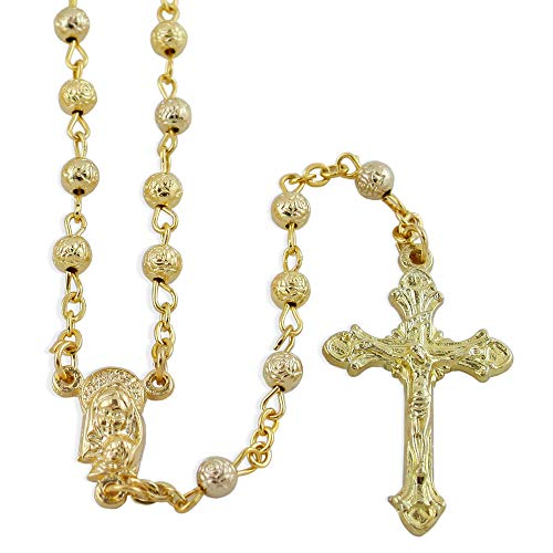 - Gold Plated Rosebud Beads Rosary