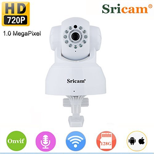- Sricam 4332027141 SP012 Wireless IP Security Camera Pan Tilt 720P WiFi Network P2P App Support Onvif Night Vision 2 Way Audio, White