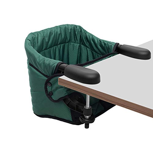 Hook On Chair, Safe and High Load Design, Fold-flat Storage and Tight Fixing Clip on Table High Chair, Machine-Washable and Avoid Cracking Fabric, Removable Seat Cushion, Fast Table Chair (Dark Green) - Green Booster Chair