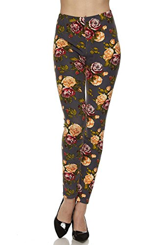 Brushed Pattern - PALI USA Womens Soft Stretch Variety Pattern Printed Brushed Leggings Pants (Wildflower Rose Grey, One Size(0-12))