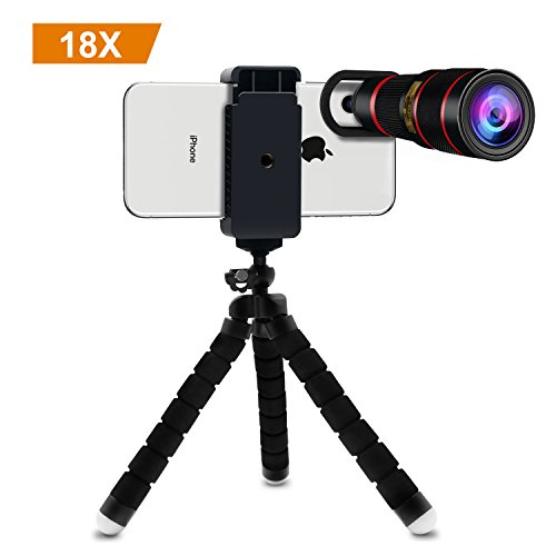 Cell Phone Telephoto Lens, Avanz 2018 Upgraded 18x Zoom Telephoto Lens with Mini Tripod & Universal Clip & Phone Holder, Zoom Lens for iPhone X/8/7/6S/SE, Samsung, iPad, Smartphones by Avanz