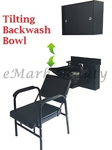 Shampoo Tilt Bowl Sink Towel Storage Cabinet Recline Chair Shampoo Cabinet TLC-B13WT-BC16-216A-EMTC by eMark Beauty