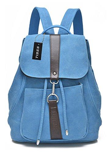 Tibes Cute Canvas pequeño mochila para niñas / mujeres Azul