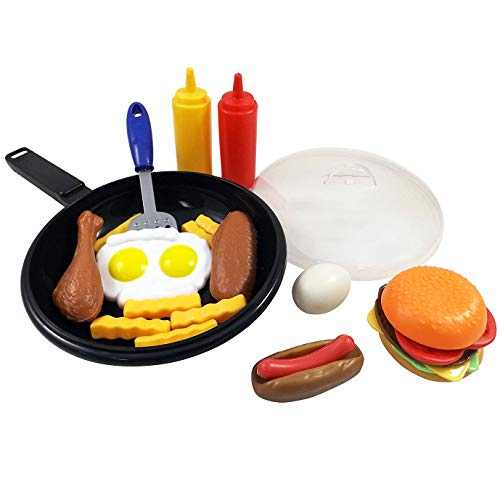 Liberty Imports Fast Food Playset with Cooking Pan and Spatula - 25-Piece Kitchen Pretend Play Toy Set for Toddlers Kids (Cheese Burger, Hotdog, Chicken, Condiments and More)