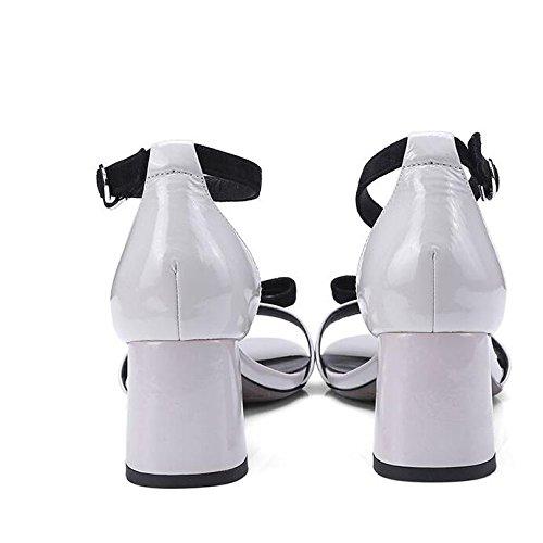 con Tacco di Testa Estate Sandali a Pelle Nuova Ximu Coreano Femminili arcuata Tonda Sandali Forma Alto a HqwxWftEZ