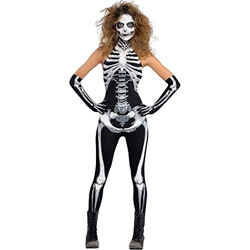 AMSCAN Bone-A-Fied Babe Skeleton Halloween Costume for Women, Extra Large, with Included Accessories -