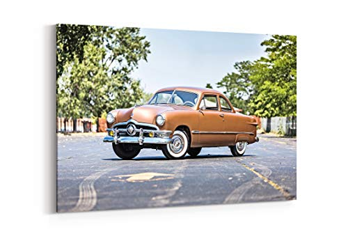 (1950 Ford Delixe Coupe Classic Old Retro Vintage Original USA 01 - Canvas Wall Art Gallery Wrapped 12