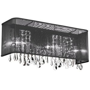Dainolite 85324W-260607-115 4 Light Polished Chrome Vanity 26 Strands Clear Crystals with Rectangular Black Organza Shade