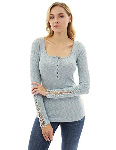 - PattyBoutik Women Henley Crochet Lace Inset Long Sleeve Top (Light Blue Large)