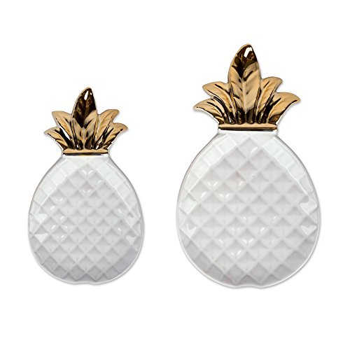 DII White and Gold Pineapple Shaped Ceramic Plates, Jewelry Ring Dish Tray Organizer, Snack Bread Sugar Dessert Serving Platter - Large and Small ()