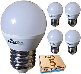 Pack 5x Bombilla LED G45 7w. Color Blanco Neutro (4500K). 650 lumenes, rosca E27 (rosca gorda). A++: Amazon.es: Iluminación