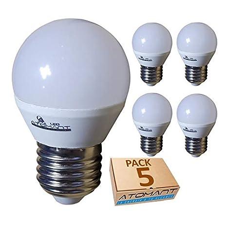 (LA) 5x Bombilla LED G45 7w, blanco calido (3000k), 650