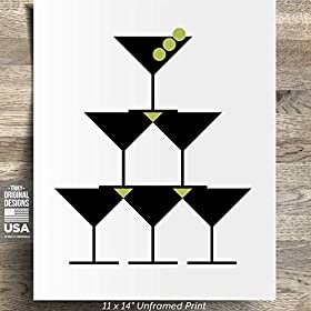 11″ x 14″ *UNFRAMED PRINT* Martini Modern Decor Dirty Vodka Gin Bar Art Sign Wall Simple Clean Home Alcohol Wine Beer Liquor Drunk Olives Farmhouse Rustic Cute