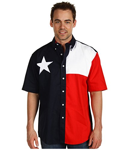 Roper Men's S/S Pieced Texas Flag Shirt Natural XX-Large