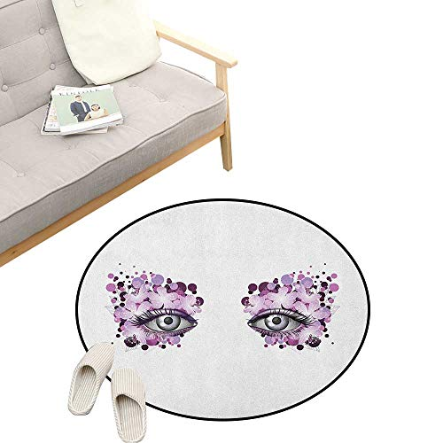 Eyelash Round Rug ,Fantasy Look with Abstract Floral Makeup Design Dots Violet Summer Blossoms, Flannel Microfiber Non-Slip Soft Absorbent 39