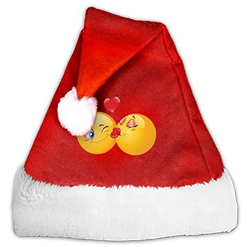 - 1 Pack Kiss Smiley Santa Hat Adult/Kid Size Winter Plush New Years Xmas Christmas Party Santa Hats Cap