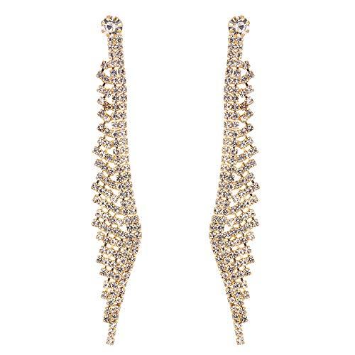(Stylebar Angel Wing Long Tassel Earrings for Wedding Women Girls Brides and Bridesmaids Dangling Crystal Chain Dangle Fringe Bridal Drop Earring Gold Tone Clear)