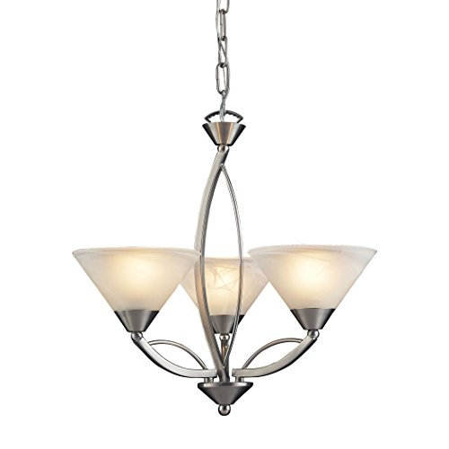 Chandelier 3 Light Elysburg - Alumbrada Collection Elysburg 3 Light Chandelier In Satin Nickel And White Glass