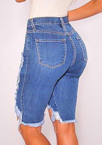 Ofenbuy Women's Denim Destroyed Mid Rise Stretchy Bermuda Shorts Jeans Plus Size