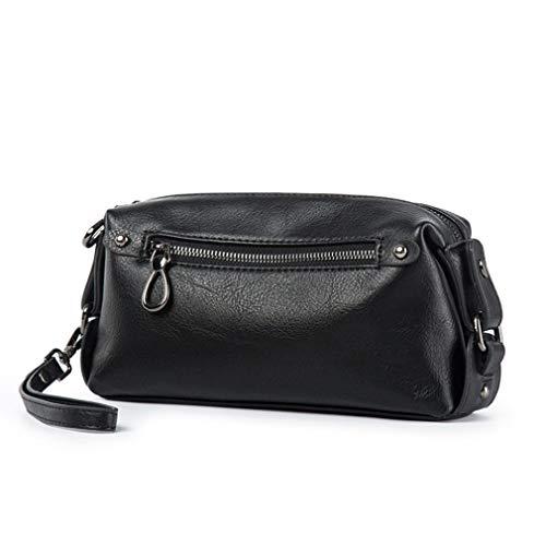 Hebetag PU Leather Soft Clutch Purse Long Wallet for Men Wristlet Organizer Pack Phone Wrist Bag Travel Business Handbag Black (Large Bag Wrist)