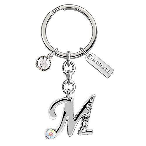 New Arrival Stylish Crystal Initial Letter M Keychain with Velvet Bag Z523-E